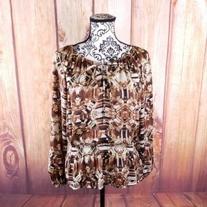 Ellen Tracy Off White & Brown Abstract Cinched Top